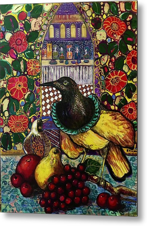 Crow Metal Print featuring the painting Medieval dinner by Marilene Sawaf