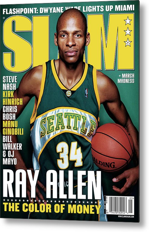 Ray Allen Metal Print featuring the photograph Ray Allen: The Color of Money SLAM Cover by Clay Patrick McBride