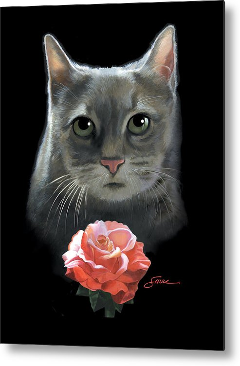 #cat Metal Print featuring the painting Cleo And The Rose by Harold Shull