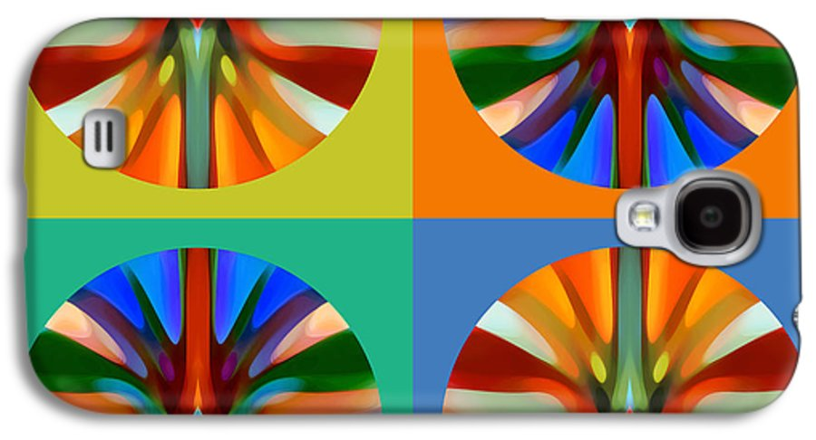 Abstract Galaxy S4 Case featuring the painting  Abstract Circles And Squares 2 by Amy Vangsgard