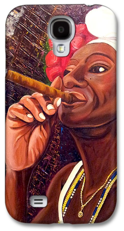 Cuban Art Galaxy S4 Case featuring the painting  Cigar Lady by Jose Manuel Abraham