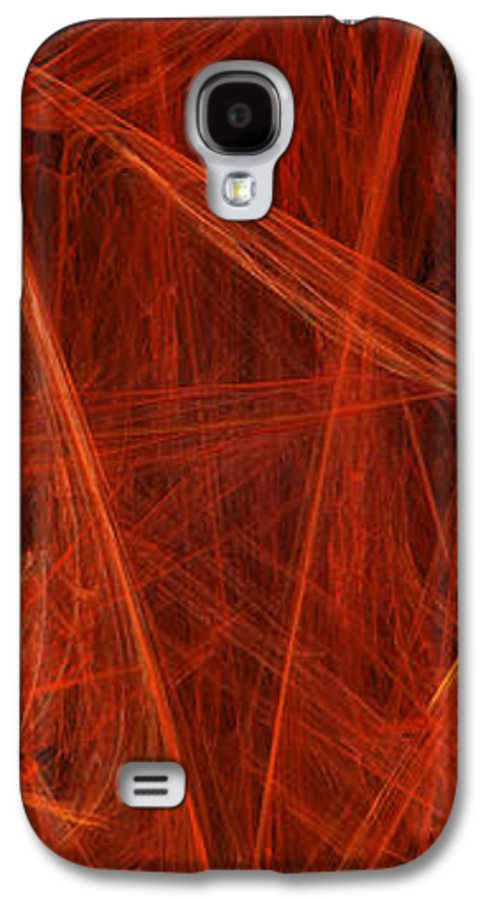 Abstract Galaxy S4 Case featuring the digital art  Dancing Flames 1 V - Panorama - Abstract - Fractal Art by Andee Design