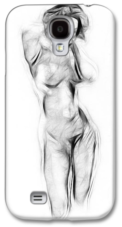 Nude Naked Female Woman Girl Abstract Drawing Charcoal Pencil Boobs Erotic Black White Drawing Sensual Galaxy S4 Case featuring the painting Abstract Nude by Steve K