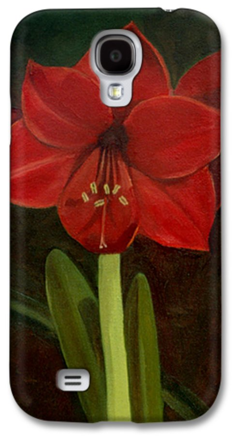 Amaryllis Galaxy S4 Case featuring the painting Amaryllis by Nancy Griswold