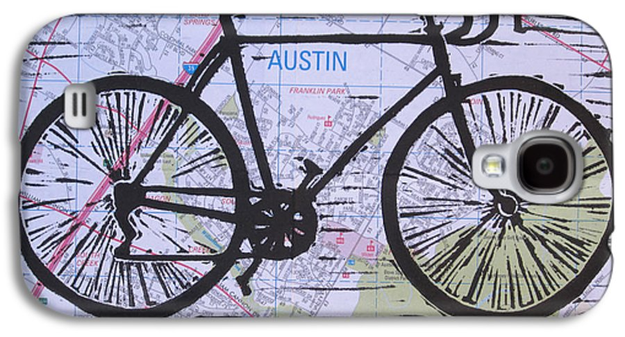 Bike Galaxy S4 Case featuring the drawing Bike 8 On Map by William Cauthern
