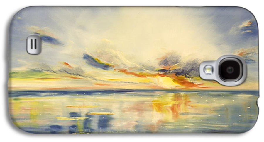 Blue Galaxy S4 Case featuring the painting Blue Sunset by Gina De Gorna