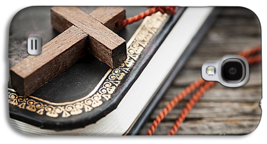 Cross Galaxy S4 Case featuring the photograph Cross On Bible by Elena Elisseeva