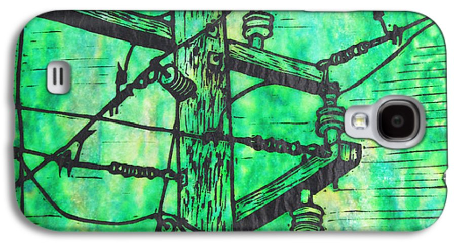 Power Galaxy S4 Case featuring the drawing Power Lines by William Cauthern