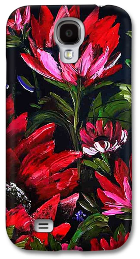 Wet On Wet Oil Painting ;happy Trees Print;bob Ross ;original Oil Painting Print;snow Print;nature Landscape Print;mountain Print;village Print;snow Print;sky Print;canvas Print;acrylic Print;greeting Card Print;framed Print;blue;white;brown;clay; Mud.....  Galaxy S4 Case featuring the painting Red Flowers by Shirwan Ahmed