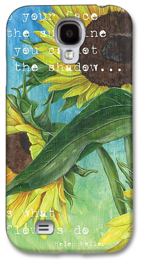 Flowers Galaxy S4 Case featuring the painting Vince's Sunflowers 1 by Debbie DeWitt