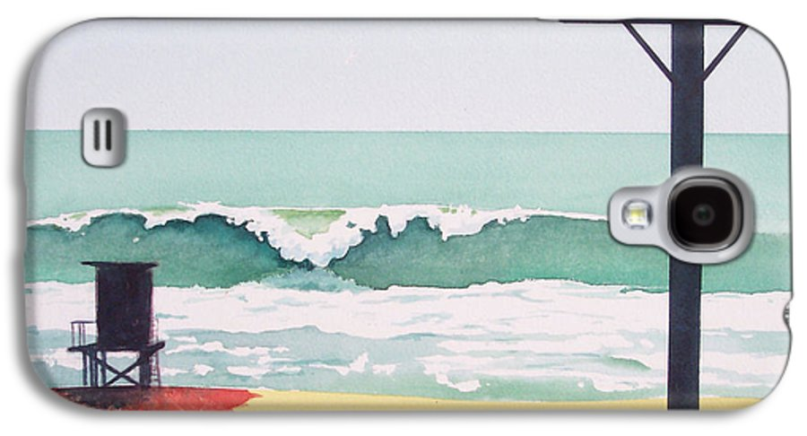 Surf Galaxy S4 Case featuring the painting 14th Street Huntington Beach by Philip Fleischer
