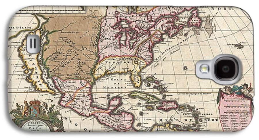 A Map That Fundamentally Impacted The Cartographic History Of America Galaxy S4 Case featuring the photograph 1698 Louis Hennepin Map Of North America by Paul Fearn