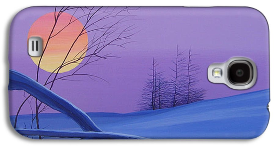Mountains Galaxy S4 Case featuring the painting Silent Snow by Hunter Jay