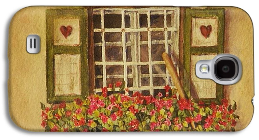 Rural Galaxy S4 Case featuring the painting Farm Window by Mary Ellen Mueller Legault