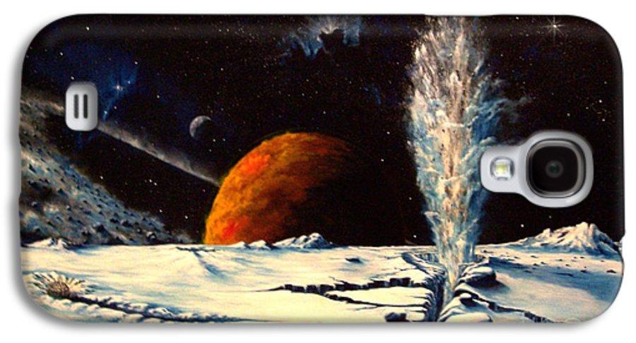 Landscape. Geyser Galaxy S4 Case featuring the painting Frozen Geyser by Murphy Elliott