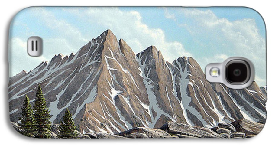 Landscape Galaxy S4 Case featuring the painting Lofty Peaks by Frank Wilson