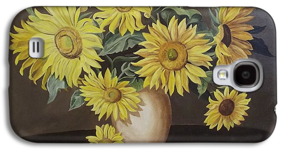 Flowers Galaxy S4 Case featuring the painting Sunshine And Sunflowers by Wanda Dansereau