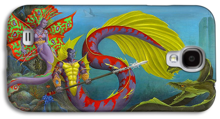 Mermaid Galaxy S4 Case featuring the painting The Threat by Melissa A Benson