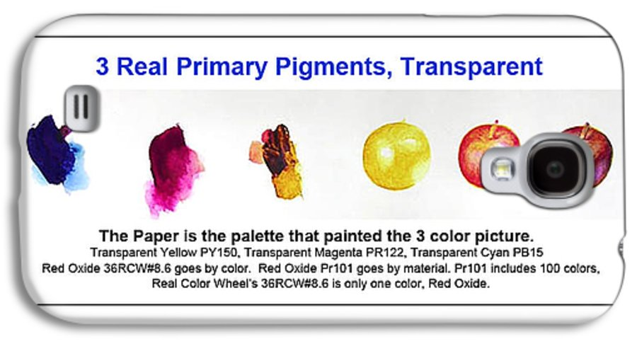 Faa Galaxy S4 Case featuring the painting 3 Primary Pigments - Apple by Don Jusko