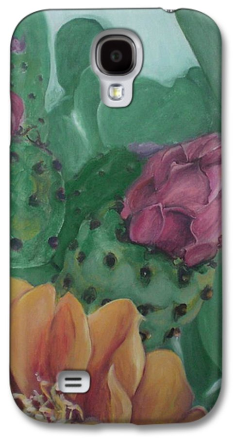 Yellow Galaxy S4 Case featuring the painting Yellow Cactus Blossom by Aleksandra Buha