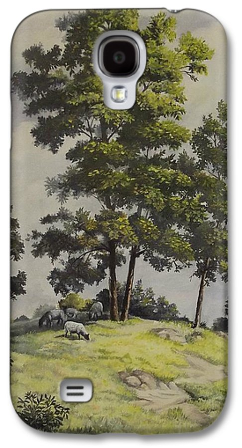 Landscape Galaxy S4 Case featuring the painting A Lazy Day For Grazing by Wanda Dansereau