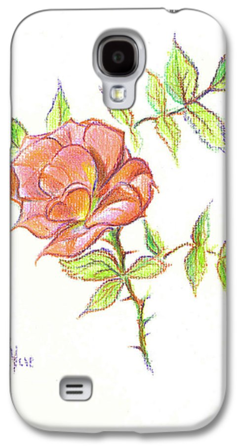 A Rose In Brigadoon Galaxy S4 Case featuring the drawing A Rose In Brigadoon by Kip DeVore