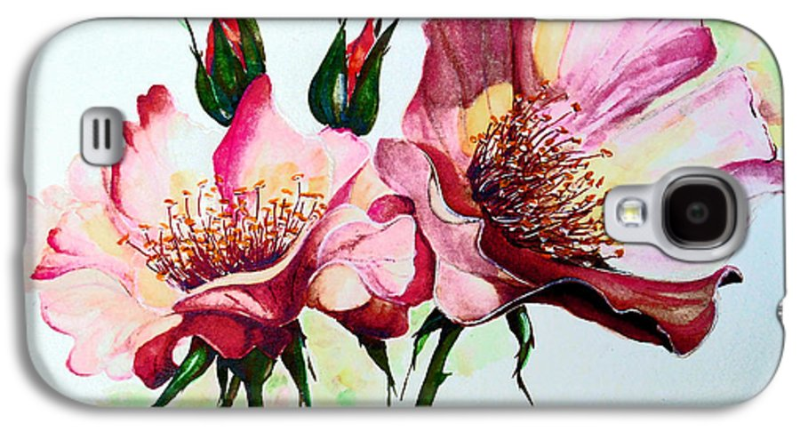 Flower Painting Galaxy S4 Case featuring the painting A Rose Is A Rose by Karin Dawn Kelshall- Best