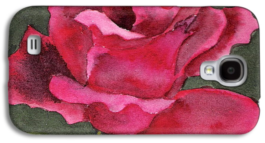 Rose Flower Red Painting Watercolor Still Life Galaxy S4 Case featuring the painting A Rose Is A Rose by Marsha Woods