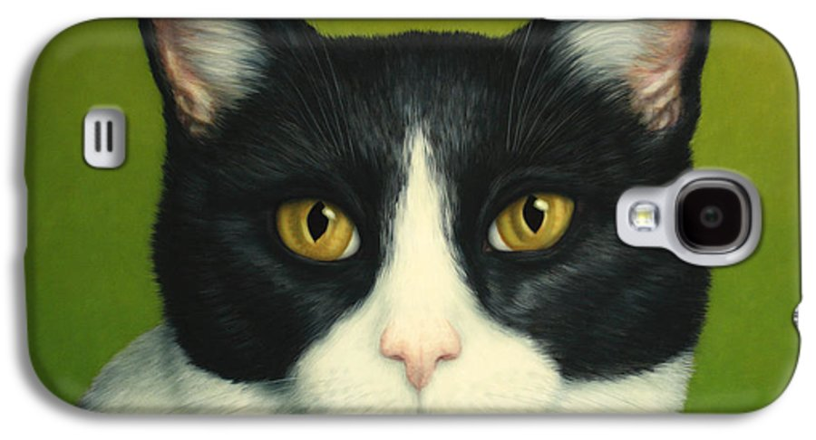 Serious Galaxy S4 Case featuring the painting A Serious Cat by James W Johnson