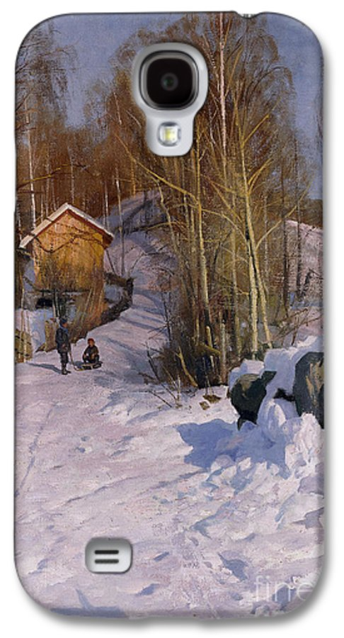 1918 Galaxy S4 Case featuring the painting A Winter Landscape With Children Sledging by Peder Monsted
