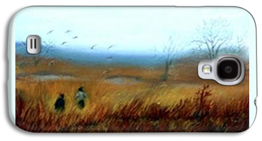 Figures Galaxy S4 Case featuring the painting A Winter Walk by Gail Kirtz