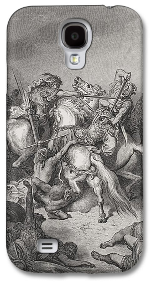 Mounted Galaxy S4 Case featuring the painting Abishai Saves The Life Of David by Gustave Dore
