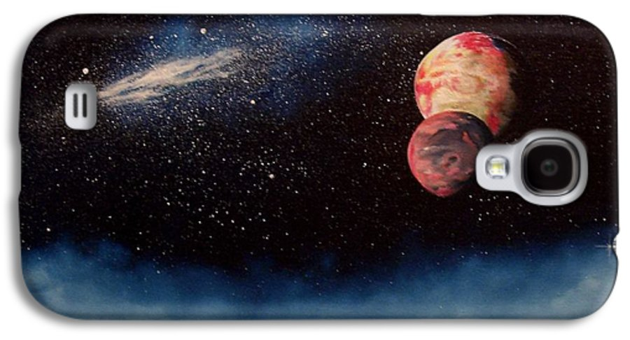 Landscape Galaxy S4 Case featuring the painting Above Alien Clouds by Murphy Elliott