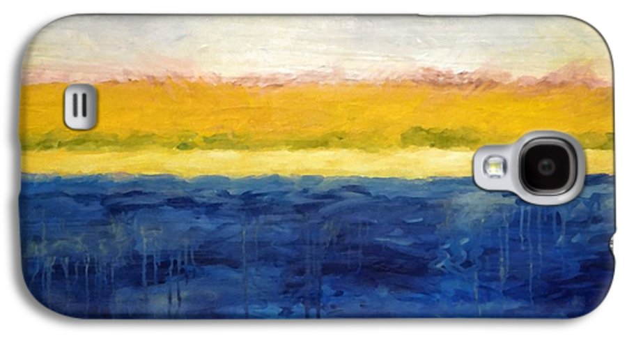 Abstract Landscape Galaxy S4 Case featuring the painting Abstract Dunes With Blue And Gold by Michelle Calkins