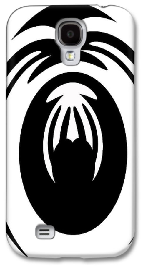 Digital Art Galaxy S4 Case featuring the painting Abstract Jellyfish Black And White Digital Painting by Georgeta Blanaru