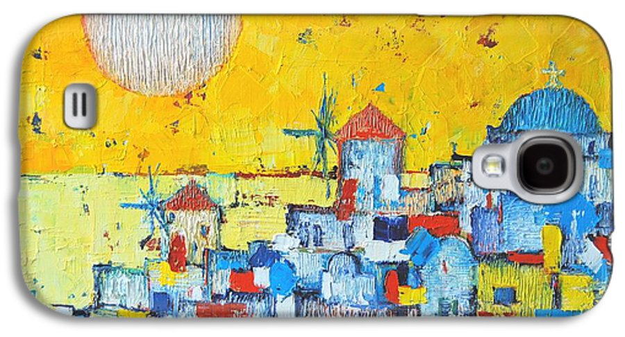 Santorini Galaxy S4 Case featuring the painting Abstract Santorini - Oia Before Sunset by Ana Maria Edulescu