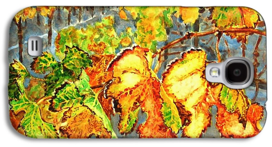 Vineyard Galaxy S4 Case featuring the painting After The Harvest by Karen Ilari