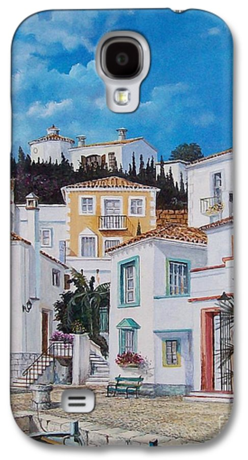Cityscape Galaxy S4 Case featuring the painting Afternoon Light In Montenegro by Sinisa Saratlic