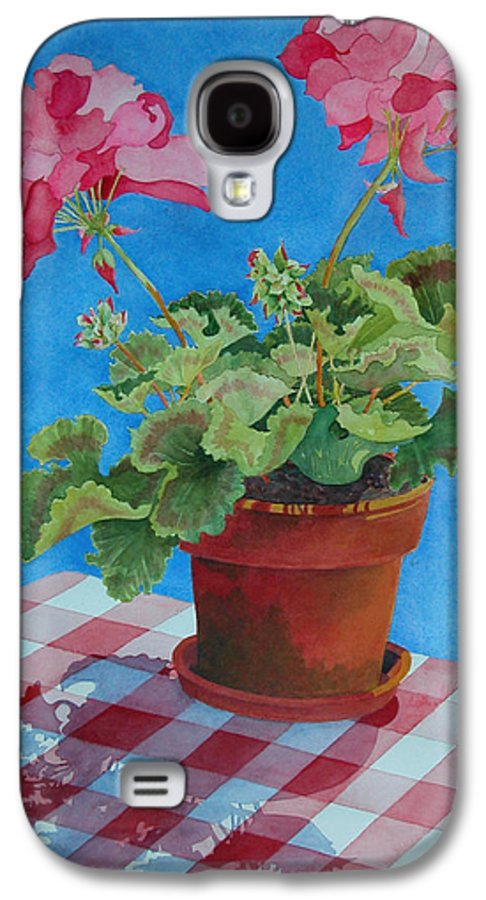 Floral. Duvet Galaxy S4 Case featuring the painting Afternoon Shadows by Mary Ellen Mueller Legault