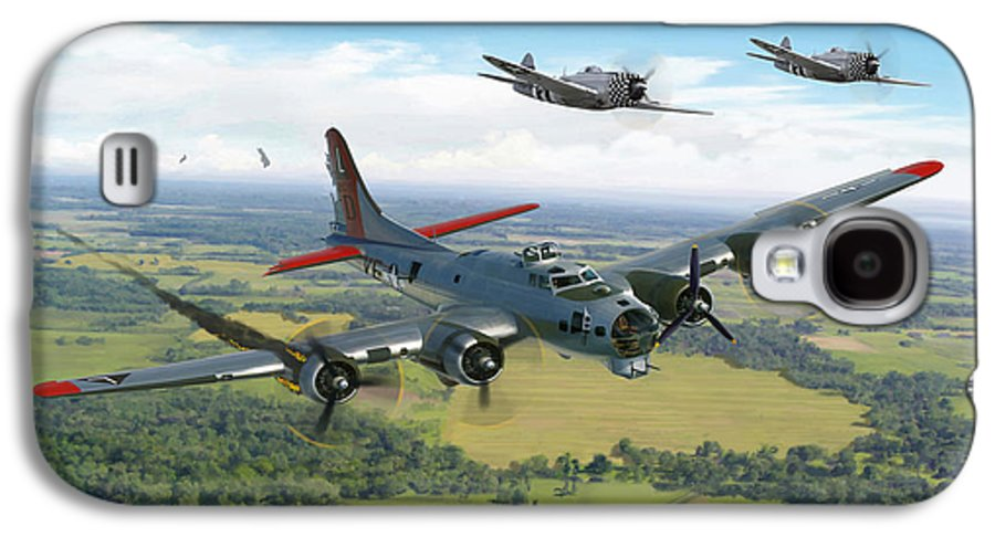 Airplane Galaxy S4 Case featuring the painting Almost Home B-17 Flying Fortress by Mark Karvon