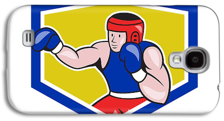 Amateur Galaxy S4 Case featuring the digital art Amateur Boxer Boxing Shield Cartoon by Aloysius Patrimonio