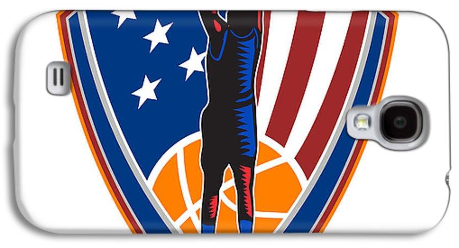 American Galaxy S4 Case featuring the digital art American Basketball Player Dunk Ball Shield Retro by Aloysius Patrimonio