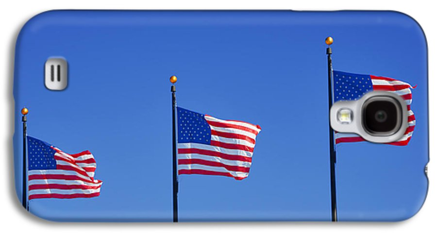 Three Galaxy S4 Case featuring the photograph American Flags - Navy Pier Chicago by Christine Till