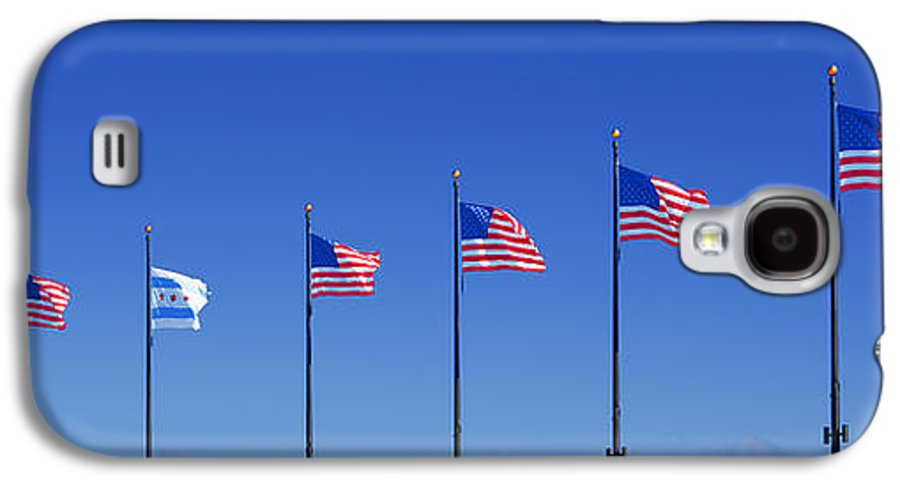 American Galaxy S4 Case featuring the photograph American Flags On Chicago's Famous Navy Pier by Christine Till