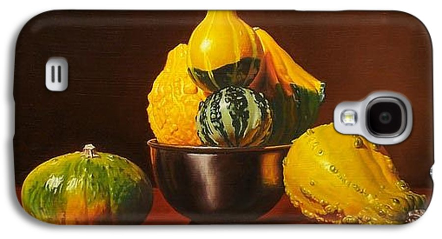 Still Life Galaxy S4 Case featuring the painting An Arrangement Of Gourds by Gary Hernandez
