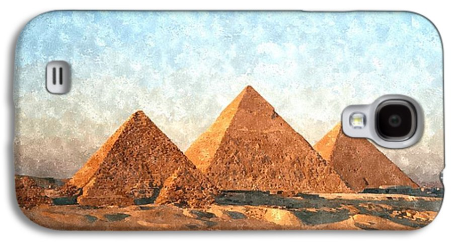 Ancient Galaxy S4 Case featuring the painting Ancient Egypt The Pyramids At Giza by Gianfranco Weiss