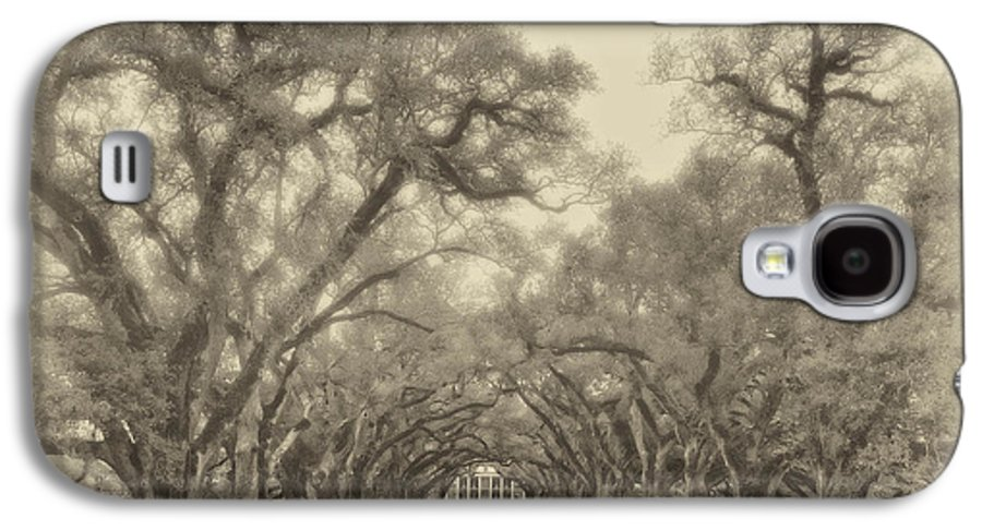 Oak Alley Plantation Galaxy S4 Case featuring the photograph And Time Stood Still Sepia by Steve Harrington