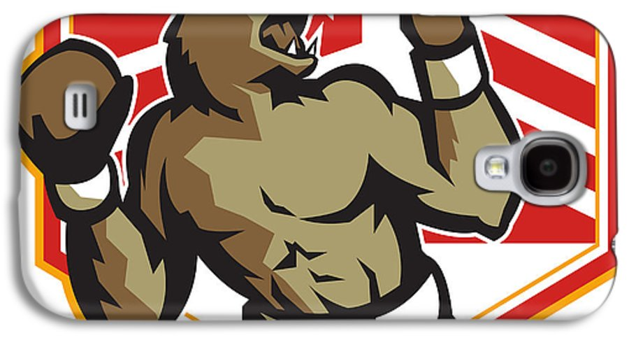 Bear Galaxy S4 Case featuring the digital art Angry Bear Boxer Boxing Retro by Aloysius Patrimonio