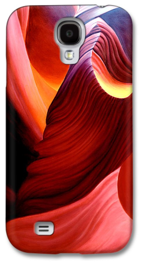 Antelope Canyon Galaxy S4 Case featuring the painting Antelope Magic by Anni Adkins
