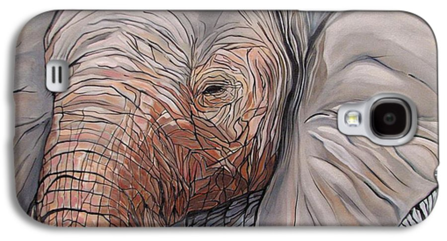 Elephant Bull Painting Galaxy S4 Case featuring the painting Are You There by Aimee Vance